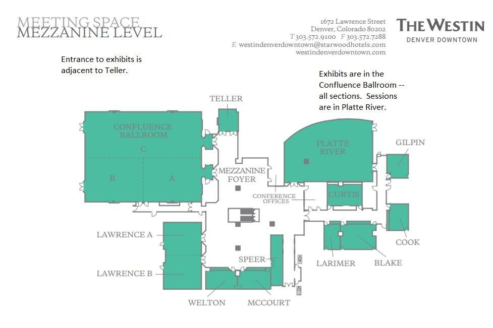 Map of Mezzanine Level for Westin Denver Downtown